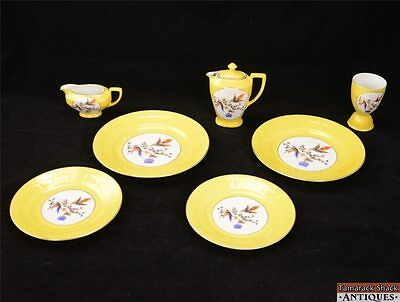 8 Pc Yellow Victoria China Small Tea Set Made in Czechoslovakia Colorful Birds