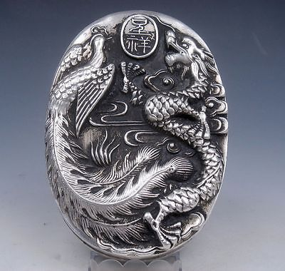 Tibetan Silver Crafted Large Heavy Ink Slab w/ Cover *Dragon & Phoenix* Overlay
