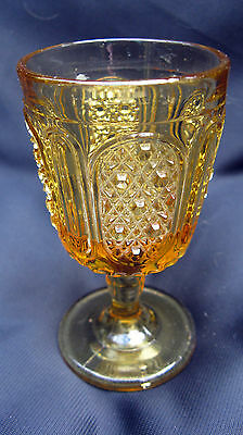 """1891 EAPG Pattern Glass Bryce Finecut and Panel 4"""" Amber Gold Yellow Wine Goblet"""