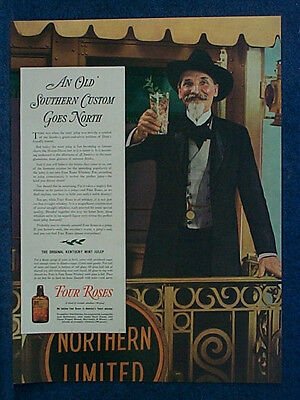 1937 Typical Old Time Kentucky Colonel On Train - Mag Ad - FOUR ROSES Whiskey -