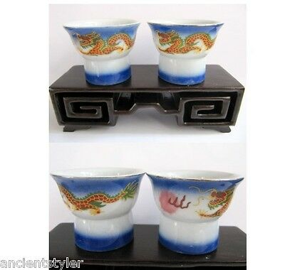 SC039: Pair of Dragonware pottery Magic Sake Cups ( Female Inside )