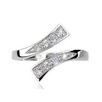 Sterling Silver Twist Clear Cubic Zerconia Toe Ring (Adjustable)