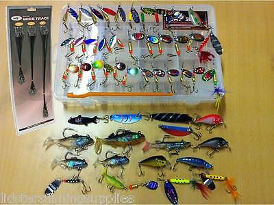 51 Fishing Lure Set Spinners Plugs Spoons For Pike Trout + 72 Wire Traces NGT