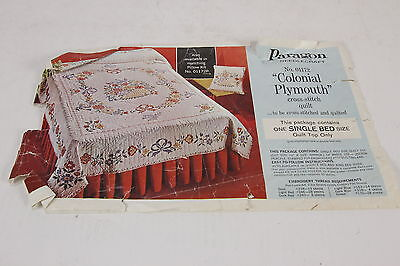 Paragon Needlecraft  01172 Colonial Plymouth Cross-Stitch 4 Vtg Quilt Panels