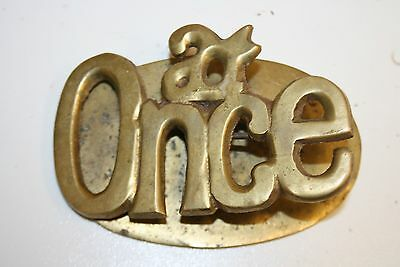 "Wow Rar Old Vintage Solid Brass "" At Once "" MOD Chic Funny Office Note Pad Clip"