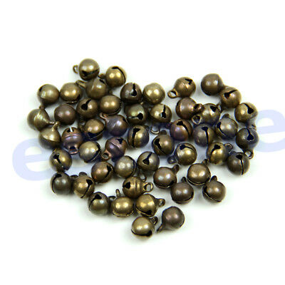 50Pc Small Vintage Bronze Color Alloy Jingle Bell Pendant Charm Jewelry Findings
