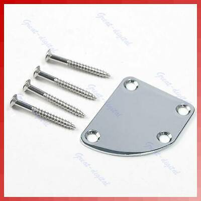 Chrome Guitar Deluxe Style Rounded Neck Plate + Screws For Fender Gibson