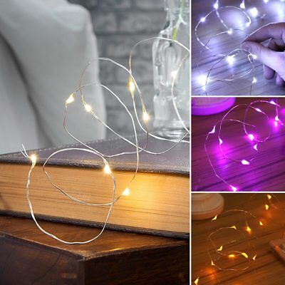 2M Indoor Battery Micro Silver Wire String Fairy Party Christmas 20 Led Lights