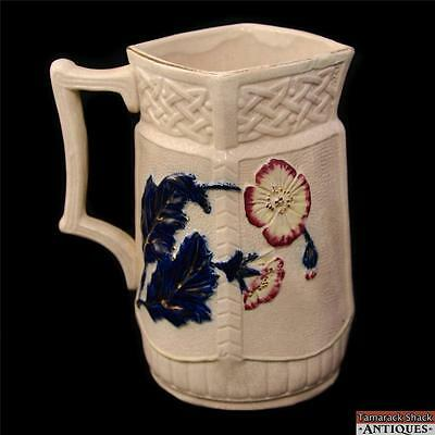 19thC English Reg. 1888 Poppy Pitcher Majolica Flow Blue Leaves Gothic Weave Top