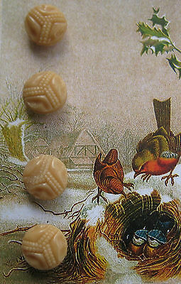 "Set of 4 ~ Rare 3/8"" Vintage Tan Glass Buttons ~1920's~ doll ~new/old stock"