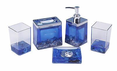 Ocean Blue seawater Bathroom Accessory Set 5 pcs with Starfish shell Style