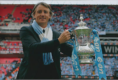 Roberto MANCINI SIGNED Autograph 12x8 Photo AFTAL COA Man City FA Cup Winner
