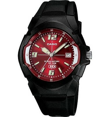 Casio MW600F-4AV Men's Black Resin Band Red Dial 100M Analog HD Series Watch