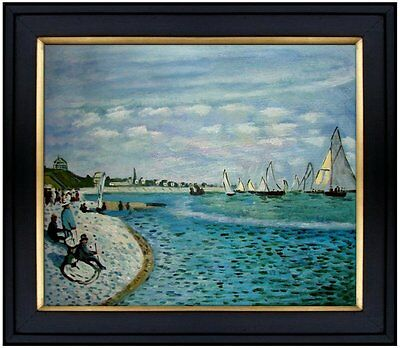 Framed, Monet Regatta at Sainte-Adresse Repro, Hand Painted Oil Painting 20x24in