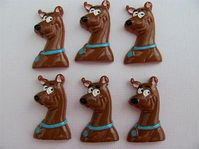 BB FLATBACKS SCOOBY DOO pk of 6 resin flatback hair bows flat backs
