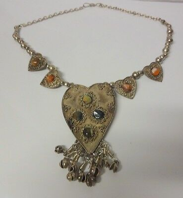 Old Antique African Silver  Hand Made Berber Gemstone Dangle Necklace Morocco