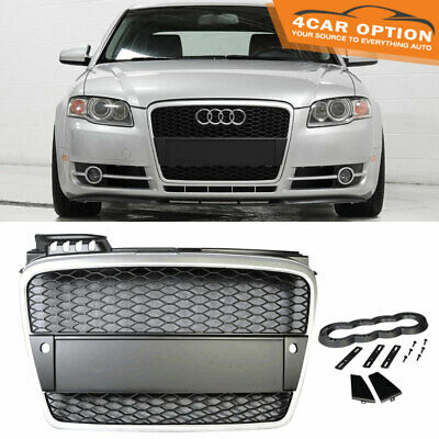 Fits 06-08 Audi A4 B7 Mesh Front Hood Grille Grill Silver Black