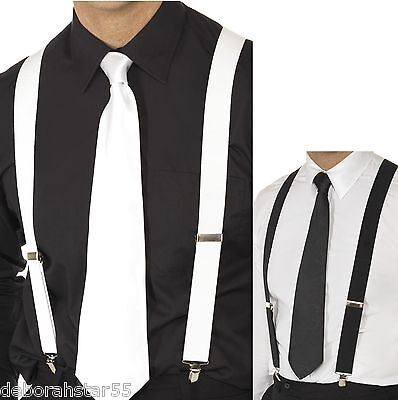 Gangster Fancy Dress 1920s 20s Gangster Black  White BRACES Fancy Dress Costume