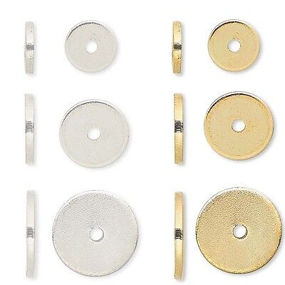 Lot of 100 Steel Metal Smooth Flat Spacer Disc Heishi Rondelle Beads Small - Big