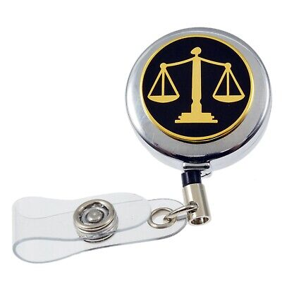 Scales of Justice Lawyer Courts Retractable Security ID Card Holder Badge Reel