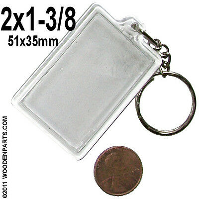 200x Clear acrylic keychain 2 x 1-3/8 photo for luggage ID keyring 51x35mm