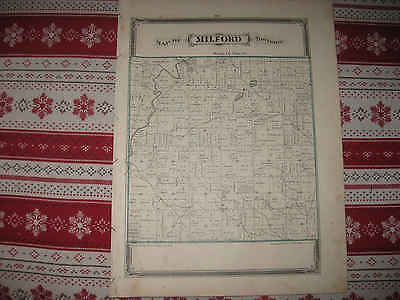Antique 1876 Milford Township Defiance County Ohio Handcolored Map Nr