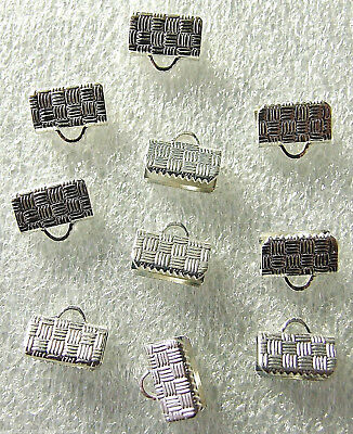 10 x Silvertone Fold Over Ribbon End Clamps with Check Pattern 10mm x 5mm