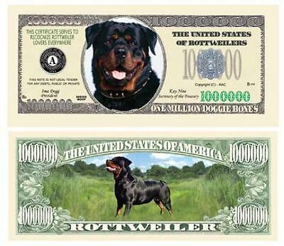 Rottweiler Puppy Dog Novelty One Million Dollar Bill