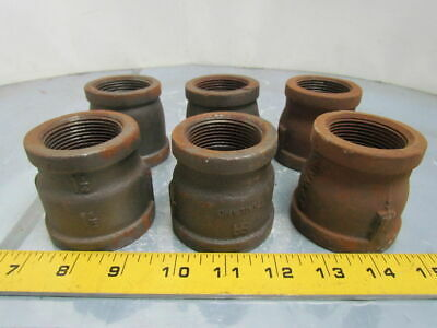 "1-1/2x1-1/4""NPT Malleable Iron Black Pipe Reducer Class 150 Lot of 6"