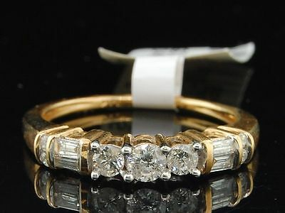 3 Stone Diamond Engagement Ring 14K Yellow Gold Round Baguette Cut 1/2 Ct