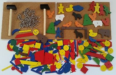 Hammer Nail Corkboard Tap Tap Set Educational Toy Farm & Mosaic Set for 2 in Box