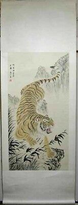 "Chinese Wall Art Painting Scroll Tiger Home Decor 85""L"