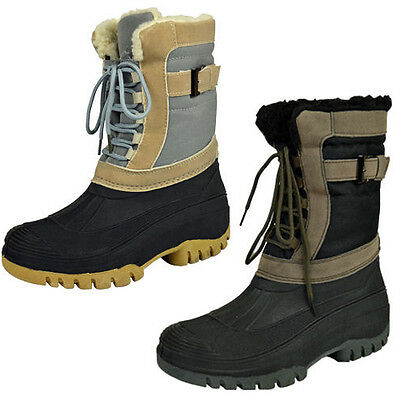 Mens Winter Snow Lady Mucker Waterproof Wellington Wellies Boots Shoe Fur Lining