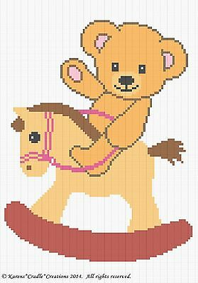 Crochet Patterns - TEDDY BEAR ON A ROCKING HORSE Baby Afghan Graph Pattern