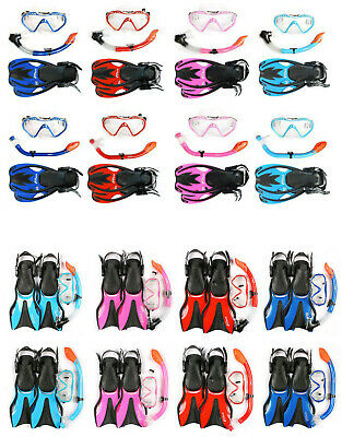 Kids SILICONE Mask + Snorkel + Fins 3PC Diving Set - Junior Snorkelling