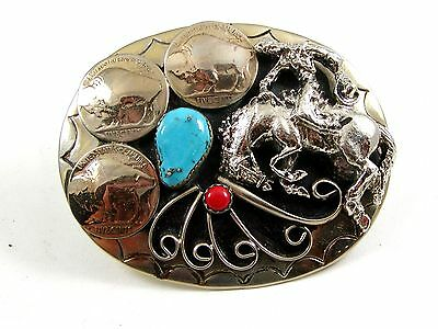 Handcrafted Cowboy Horse Bowing 3 Nickels Coral Turquoise Belt Buckle USA