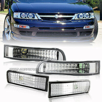 Chrome Housing Clear Lens Front Bumper Signal Lights For 1995-1999 Nissan Maxima