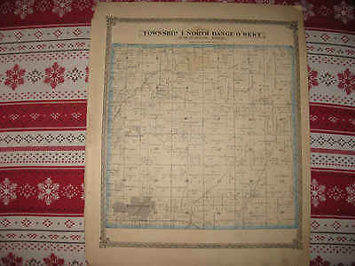 Antique 1874 Mascoutah Township City Strassburg St Clair County Illinois Map