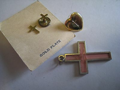 Tiny Gold Plate Crosses, Single Heart Earring & Pink Crucifix Necklace Pendant
