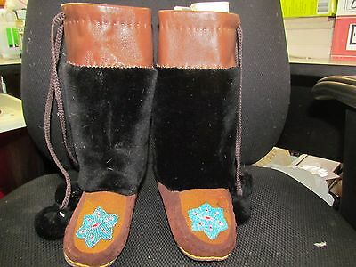 Native American  Beaded  Mukluks 8 1/2 Inches Long Water Proof Sole Flower  Vamp