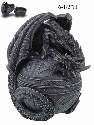 Celtic Ancient Medieval Dragon On Egg Sentry Jewelry Box.figurine Collectible
