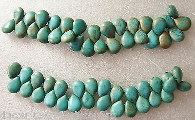 "1 String of 8""/19cms Synthetic Turquoise Teardrop Beads With Gold Inclusions"