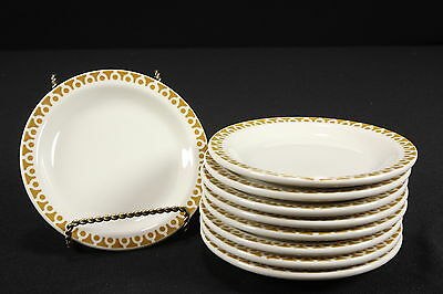 NOS Restaurant Ware Buffalo China Sets of 9 Bread & Butter Plates Beige Rim