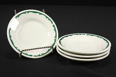 NOS Restaurant Ware Buffalo China Sets of 4 Bread & Butter Plates Green Crest