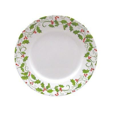 """1 Corelle EVERGREEN ROSE 8 1/2"""" LUNCH PLATE Holiday Red Green Holly Berries *NEW"""