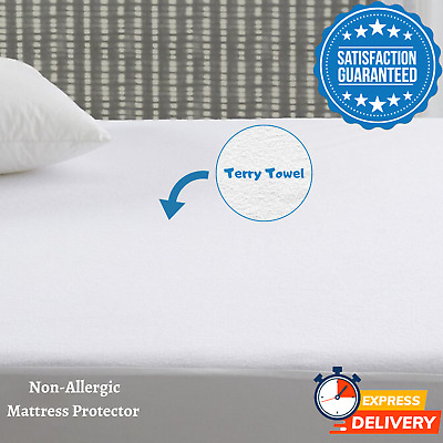 Waterproof Terry Towel Mattress Protector Extra Deep Fitted Sheet - All Sizes