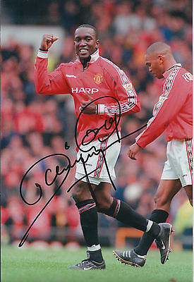 Dwight YORKE Quinton FORTUNE Dual SIGNED Autograph 12x8 Photo AFTAL COA Man Utd