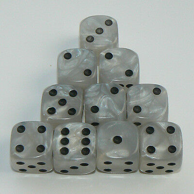 10 of White Pearl Dice  - Six Sided Spot Dice, size 16mm - D6 RPG Wargaming