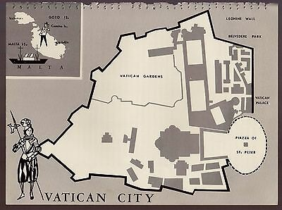 Charming VATICAN CITY Map Italy Fun and Funky 60s Picture Map