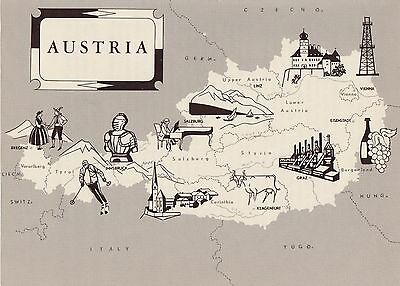 Charming AUSTRIA Map  Fun and Funky 60s Picture Map of Austria Pictorial Map